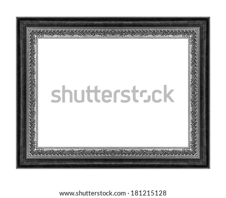 Vintage gray frame with blank space, with clipping path - stock photo