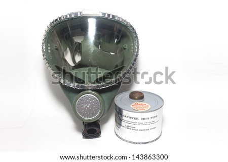 Vintage Green American Full Face Gas Mask with Filter