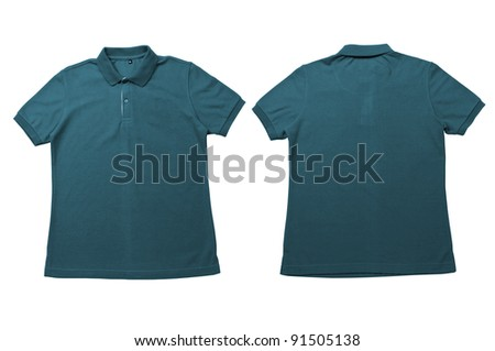 Vintage Green color Polo Shirt with white background Men Front and back Polo Shirt - stock photo