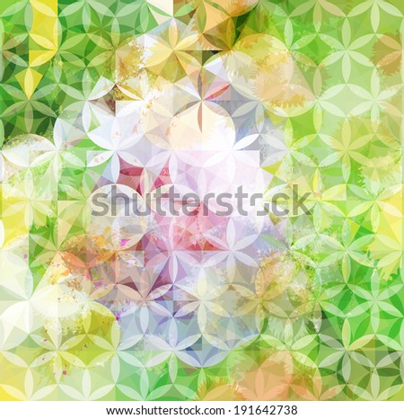 Vintage green defocused background with geometric triangular ornament. Raster version - stock photo