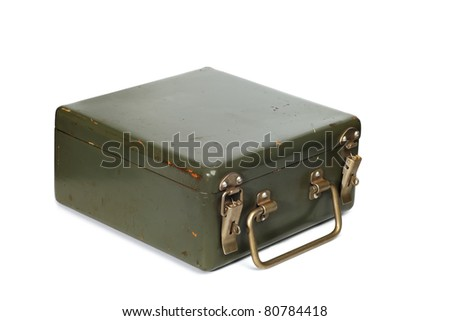 Vintage green suitcase isolated on white background - stock photo