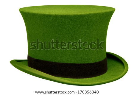 Vintage green top hat against white background - stock photo