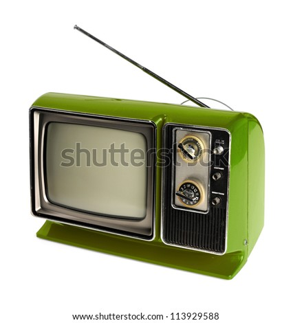 Vintage green TV with antenna isolated over white background - With clipping path