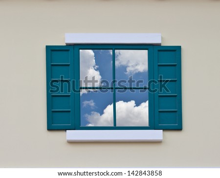 Vintage Green window and wall - stock photo