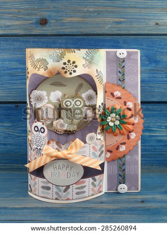 Vintage greeting card, paper collage - stock photo