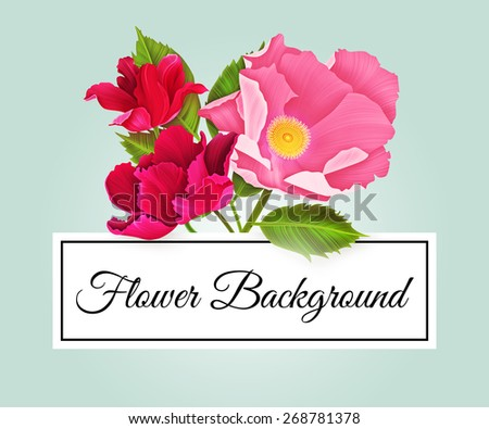 Vintage greeting card with colorful flowers. Beautiful retro flower illustration with place for text. - stock photo