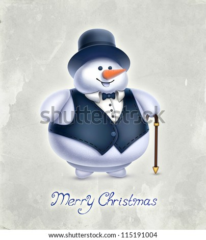 Vintage greeting card with illustration of snowman - stock photo