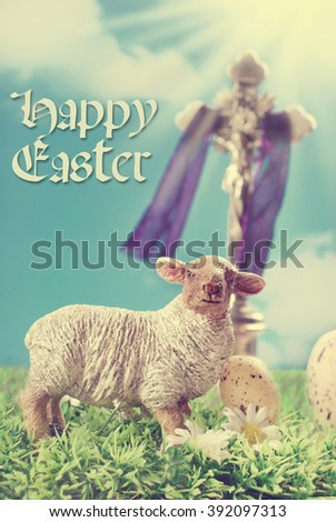 Vintage Greeting Card With Jesus Christ On The Cross And Lamb Figurine Against Blue Sky As