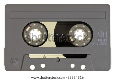 Vintage grey Compact Cassette on white background