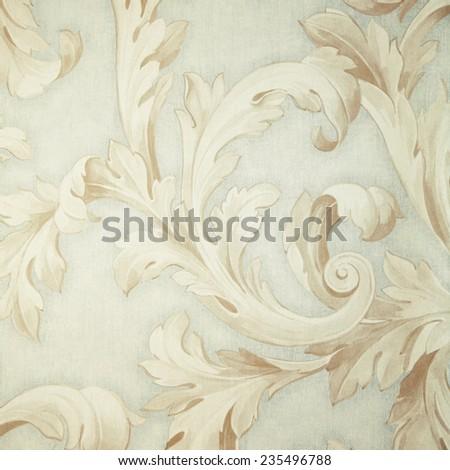 Vintage grey victorian wallpaper with beige baroque vignette. Square toned image, instagram effect - stock photo