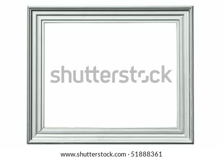 vintage grey wooden frame isolated on white - stock photo