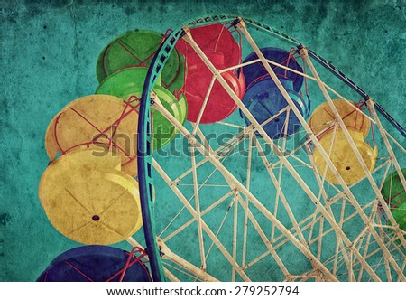 Vintage grunge background with colorful ferris wheel - stock photo