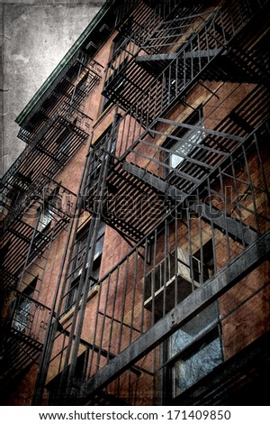 vintage grunge image of new york city - stock photo