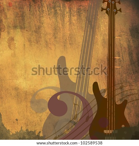 Vintage grunge style background with guitars - stock photo