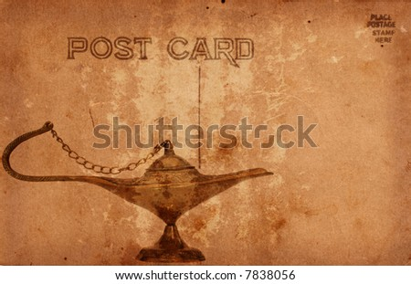 Vintage Grunge Style Postcard With Oil Lamp - stock photo