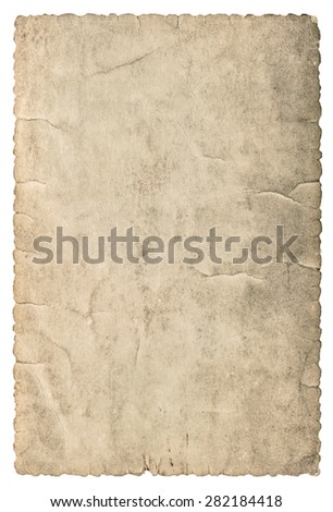 Vintage grungy cardboard with edges. Used paper texture isolated on white background - stock photo