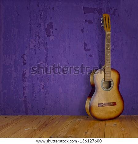 vintage guitar on grunge background texture - stock photo