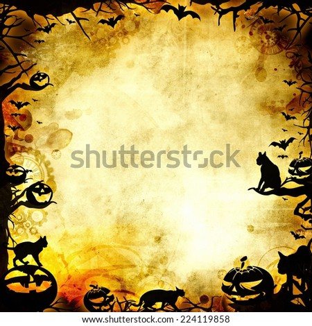 vintage halloween frame background or texture illustration - stock photo