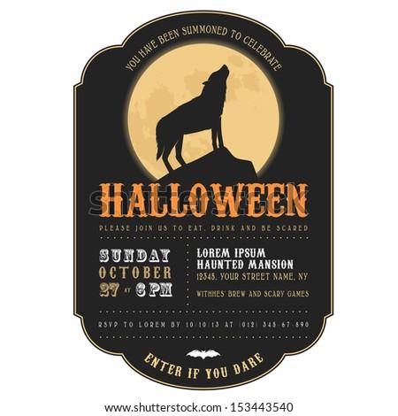 Vintage Halloween invitation with howling werewolf - stock photo