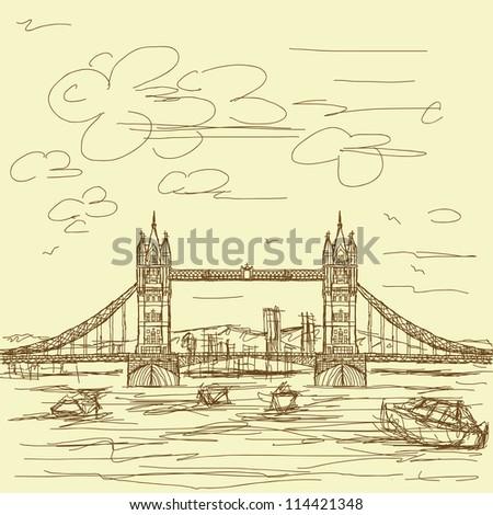 vintage hand drawn illustration of famous tourist destination tower bridge of london. - stock photo