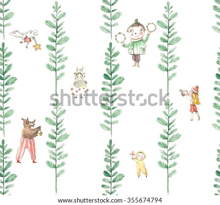 Vintage hand drawn watercolor seamless pattern - cute characters in the forest  - stock photo