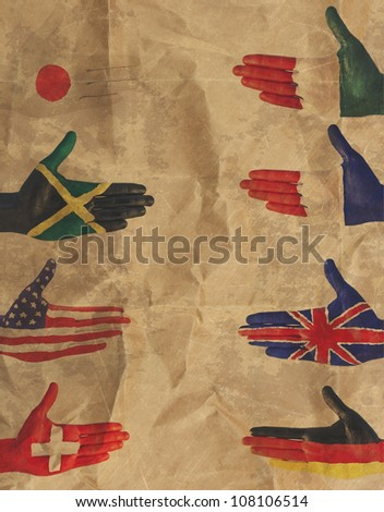 vintage hand flag Italy flag gesture of the hands of male abstract rusty colored background. - stock photo