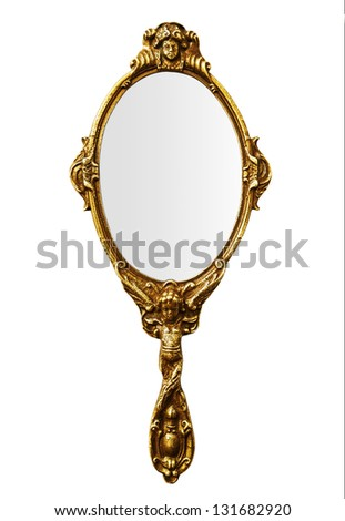 Vintage hand mirror - stock photo