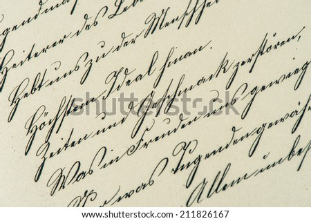 vintage handwriting. antique manuscript. aged paper background. retro style toned picture