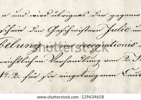 vintage handwriting. grunge paper background - stock photo