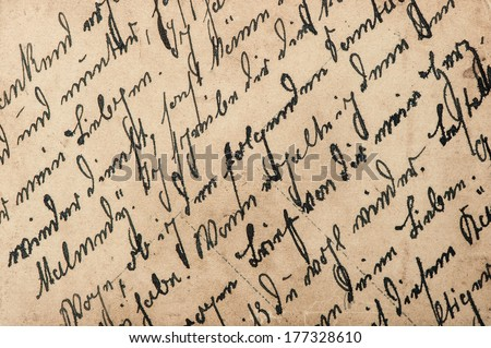 vintage handwriting with a text in undefined language. grungy textured paper background