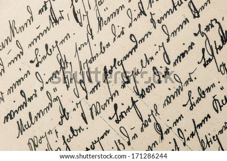 vintage handwriting with a text in undefined language. manuscript. parchment. grunge paper background