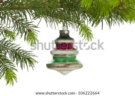 Vintage hanging Christmas tree ornament isolated on white. - stock photo