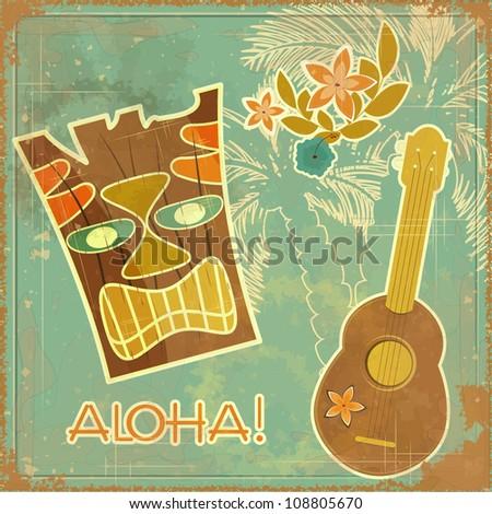 Vintage Hawaiian card - invitation to Beach party - JPEG version - stock photo