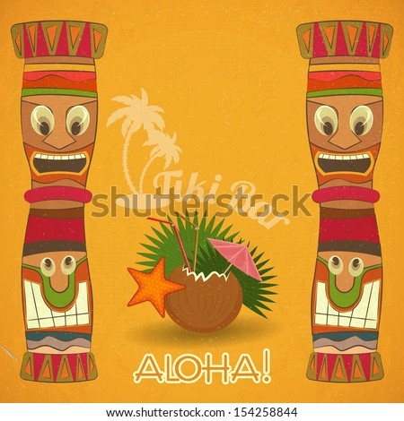 Vintage Hawaiian Tiki bar - cocktail and Tiki totem - JPEG version - stock photo