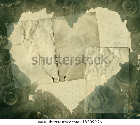 Vintage heart background image with floral elements - stock photo