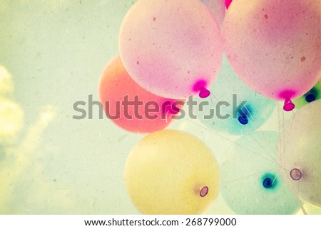 vintage heart balloon with colorful on blue sky concept of love in summer and valentine, wedding honeymoon  - stock photo