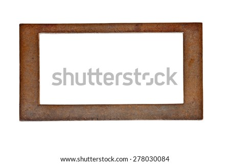 vintage heavy patina brass label name plate, clipping path - stock photo