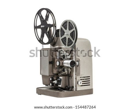 Vintage home movie film projector isolated. - stock photo