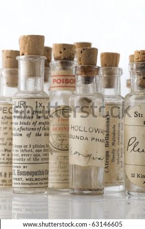 Vintage homeopathic medicine bottles over 100 Years old - stock photo