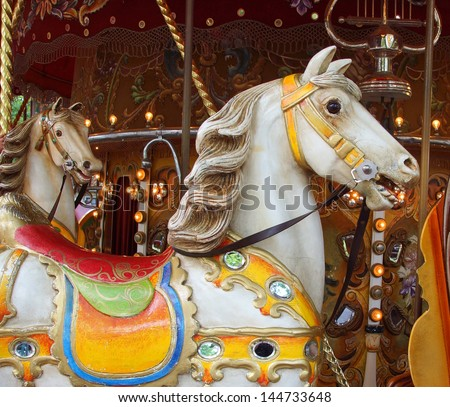 vintage horse from a Merry-go-round  - stock photo