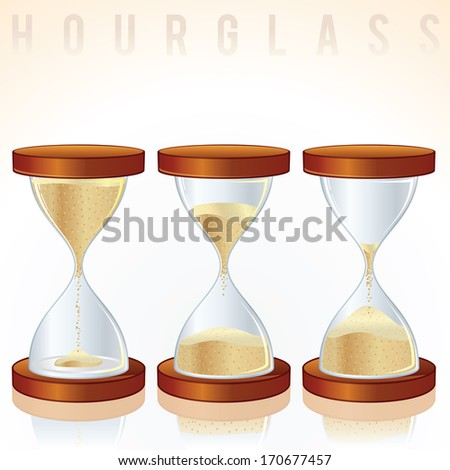 Vintage Hourglass. Three Different States.
