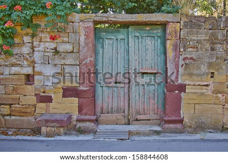 vintage house entrance, Chios island, Greece