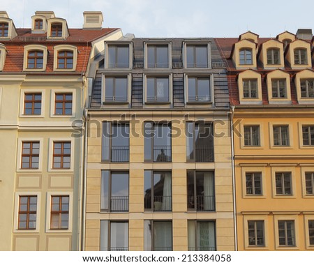 Vintage house facades on Neumarkt Square, Dresden Germany - stock photo