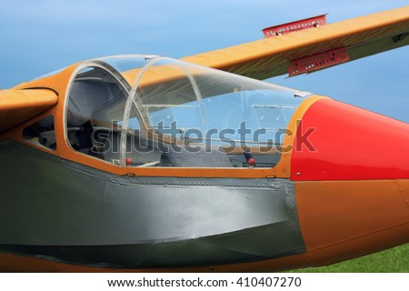 Vintage Hungarian glider plane cockpit close-up canopy - stock photo