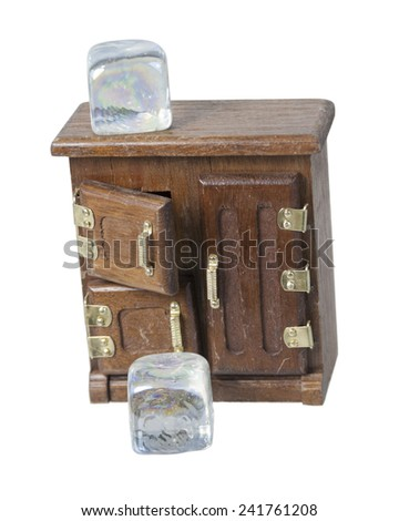 Vintage Ice Box used to keep items cold - path included - stock photo