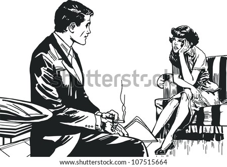 vintage Illustration ,isolated romantic couple of lovers - stock photo