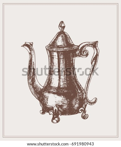 Vintage illustration of a coffee pot in an etching style for a poster in the interior of a cafe, a  restaurant,  a  kitchen. Coffeepot in english style.