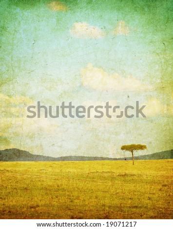 vintage illustration of african landscape - stock photo