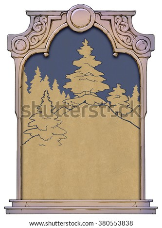 Vintage Illustration of Christmas tree in the wood framed with a stone decorated hand drawn arch - stock photo