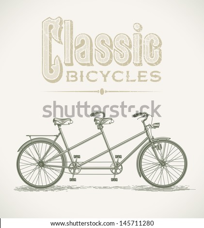 Vintage illustration with a classic tandem bicycle. Raster image. Find an editable version in my portfolio.  - stock photo